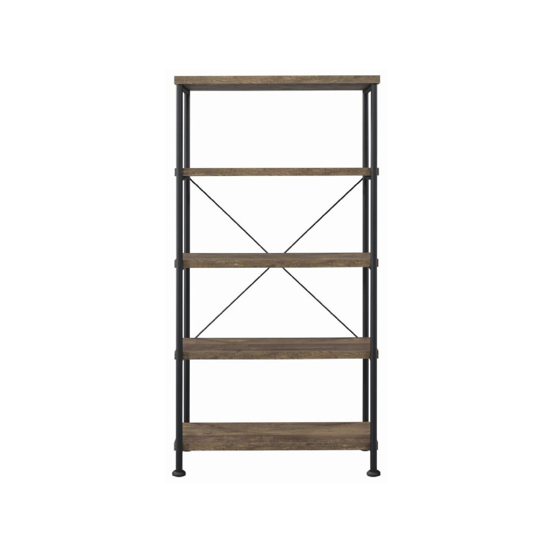 Natural Rustic Oak Bookcase w/ Black Steel Frame - image-0