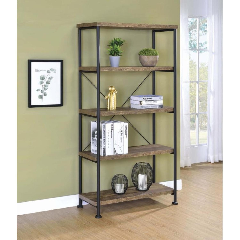 Natural Rustic Oak Bookcase w/ Black Steel Frame - image-3