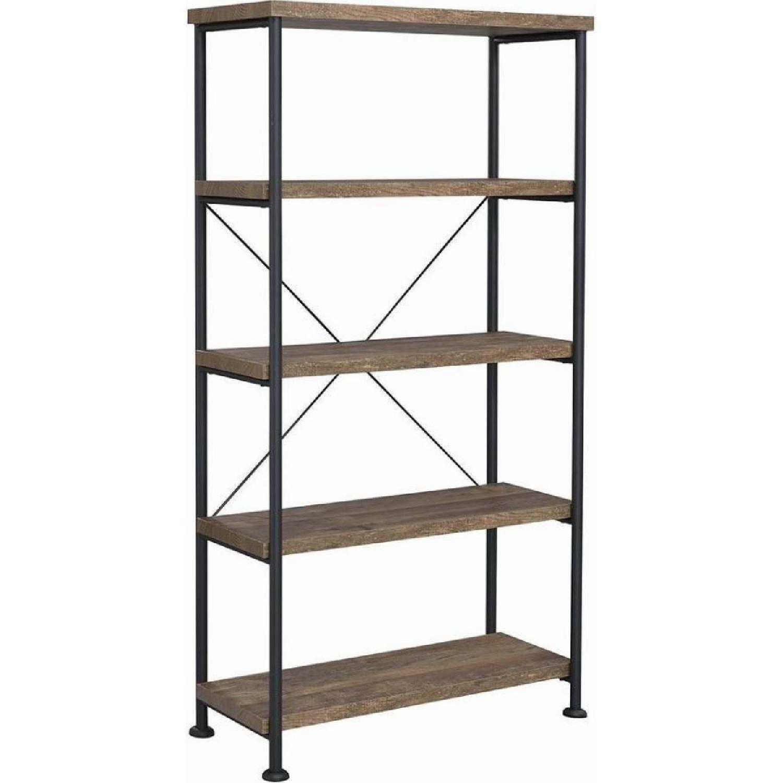 Natural Rustic Oak Bookcase w/ Black Steel Frame - image-1