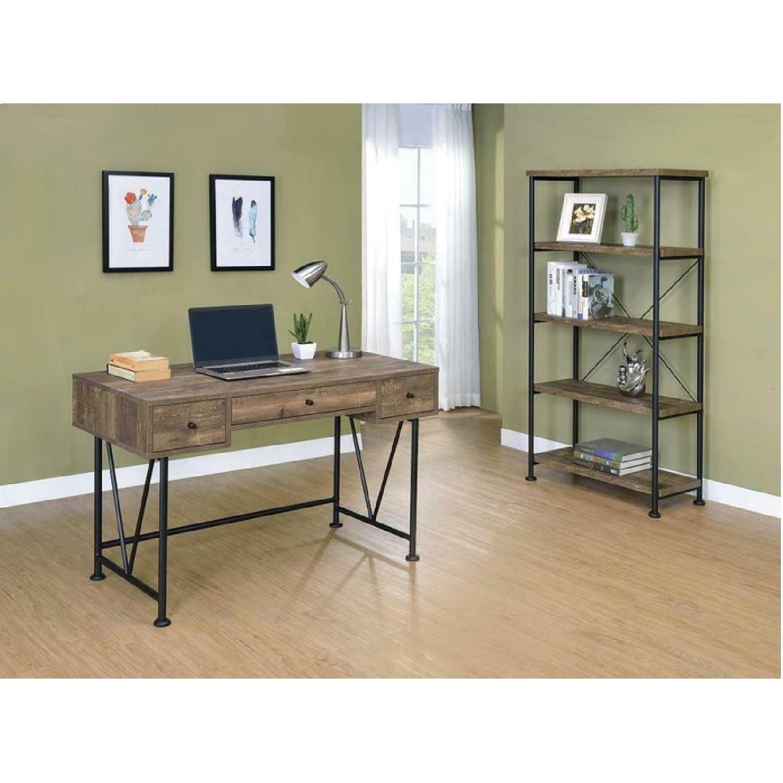 Natural Rustic Oak Bookcase w/ Black Steel Frame - image-2