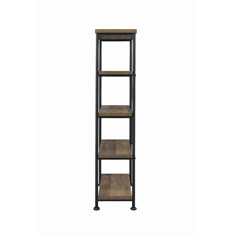 Natural Rustic Oak Bookcase w/ Black Steel Frame - image-5