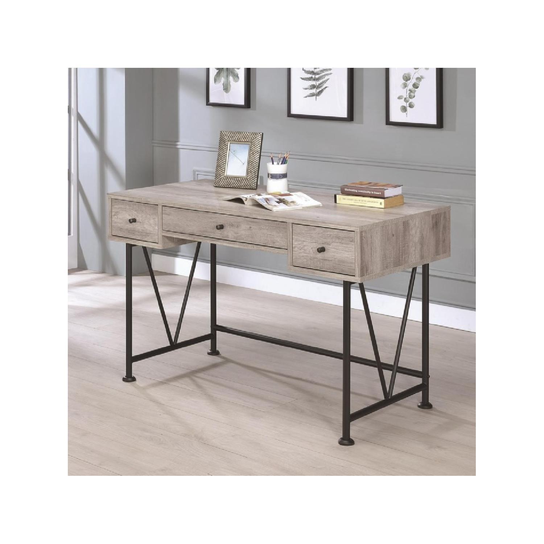 City Grey Driftwood Desk w/ Black Steel Legs - image-2