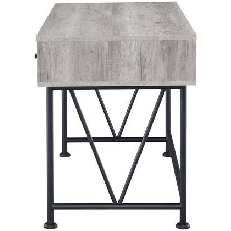 City Grey Driftwood Desk w/ Black Steel Legs - image-1