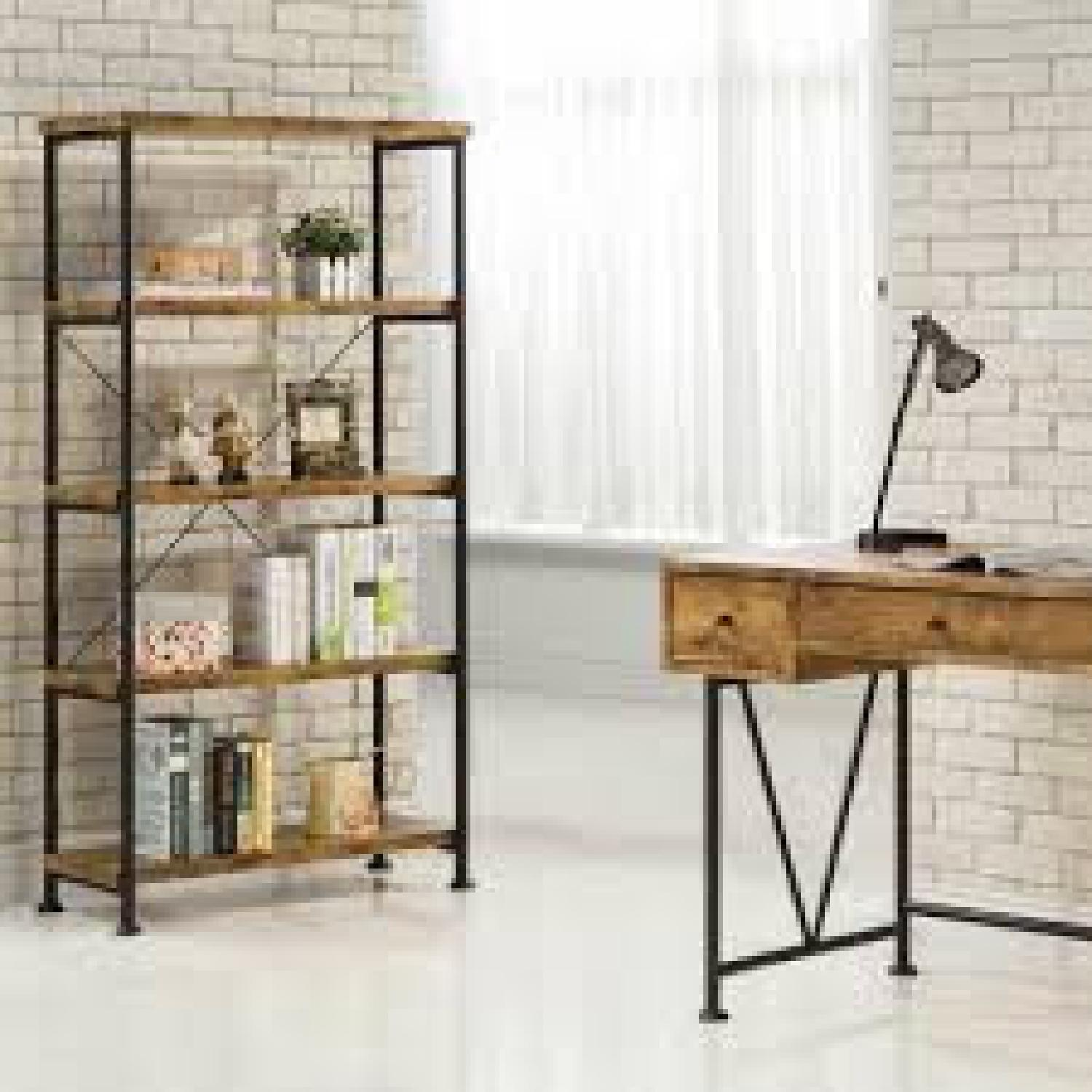 Chic Antique Nutmeg Bookcase With Black Metal Frame - image-2