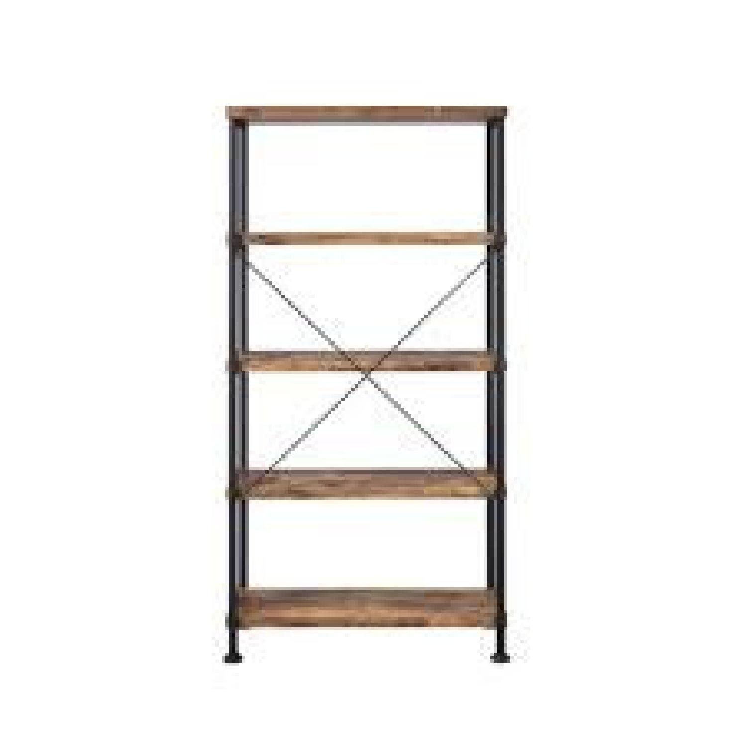 Chic Antique Nutmeg Bookcase With Black Metal Frame - image-1