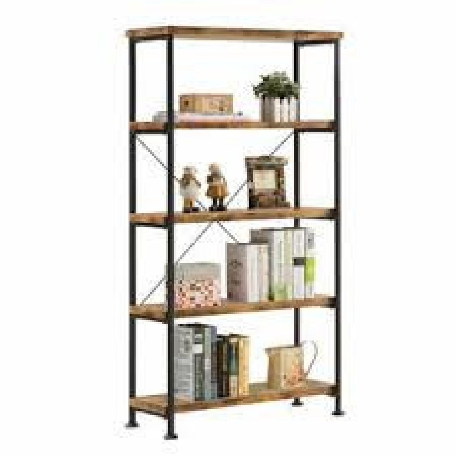 Chic Antique Nutmeg Bookcase With Black Metal Frame - image-3