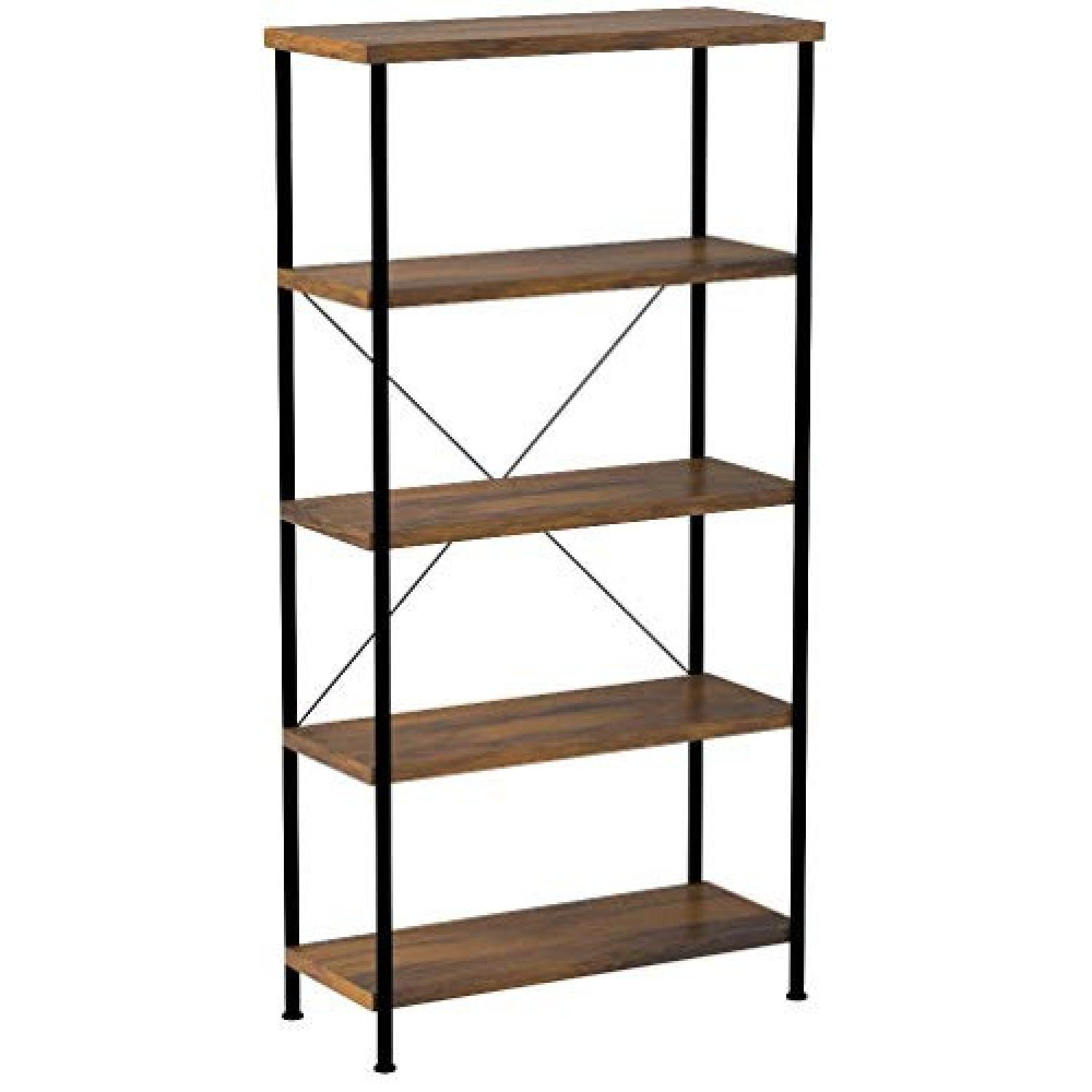 Chic Antique Nutmeg Bookcase With Black Metal Frame - image-0