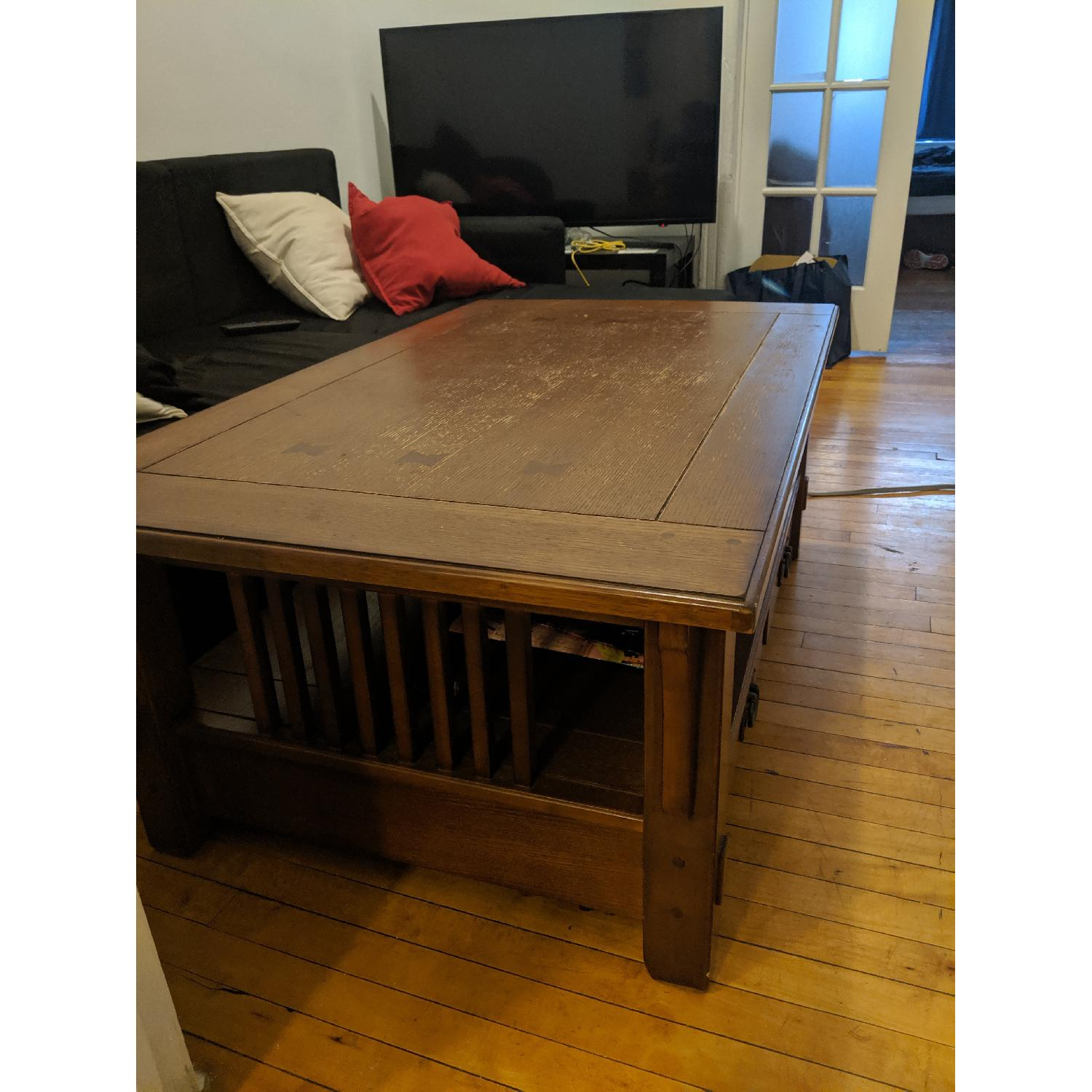Vintage Wooden Lift-Top Coffee Table - image-1