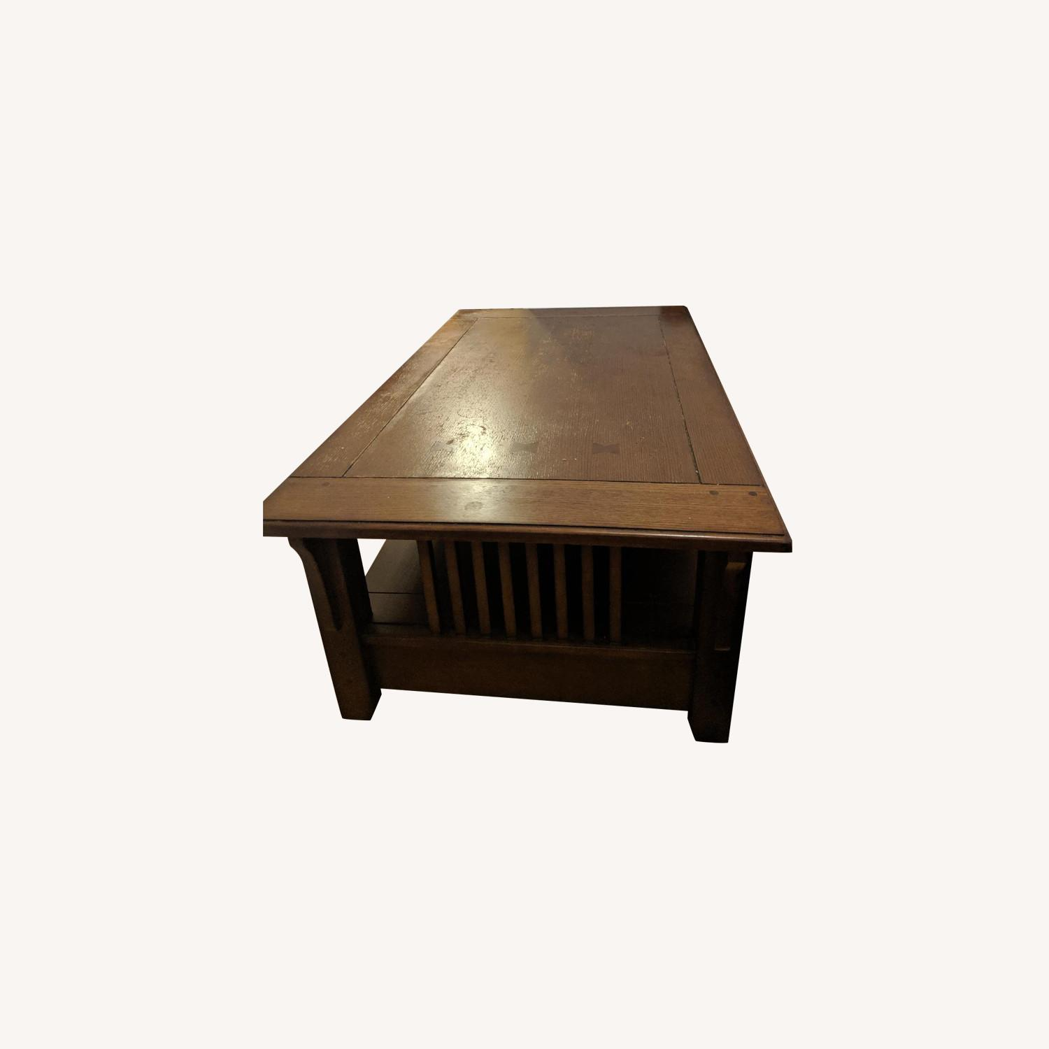 Vintage Wooden Lift-Top Coffee Table - image-0