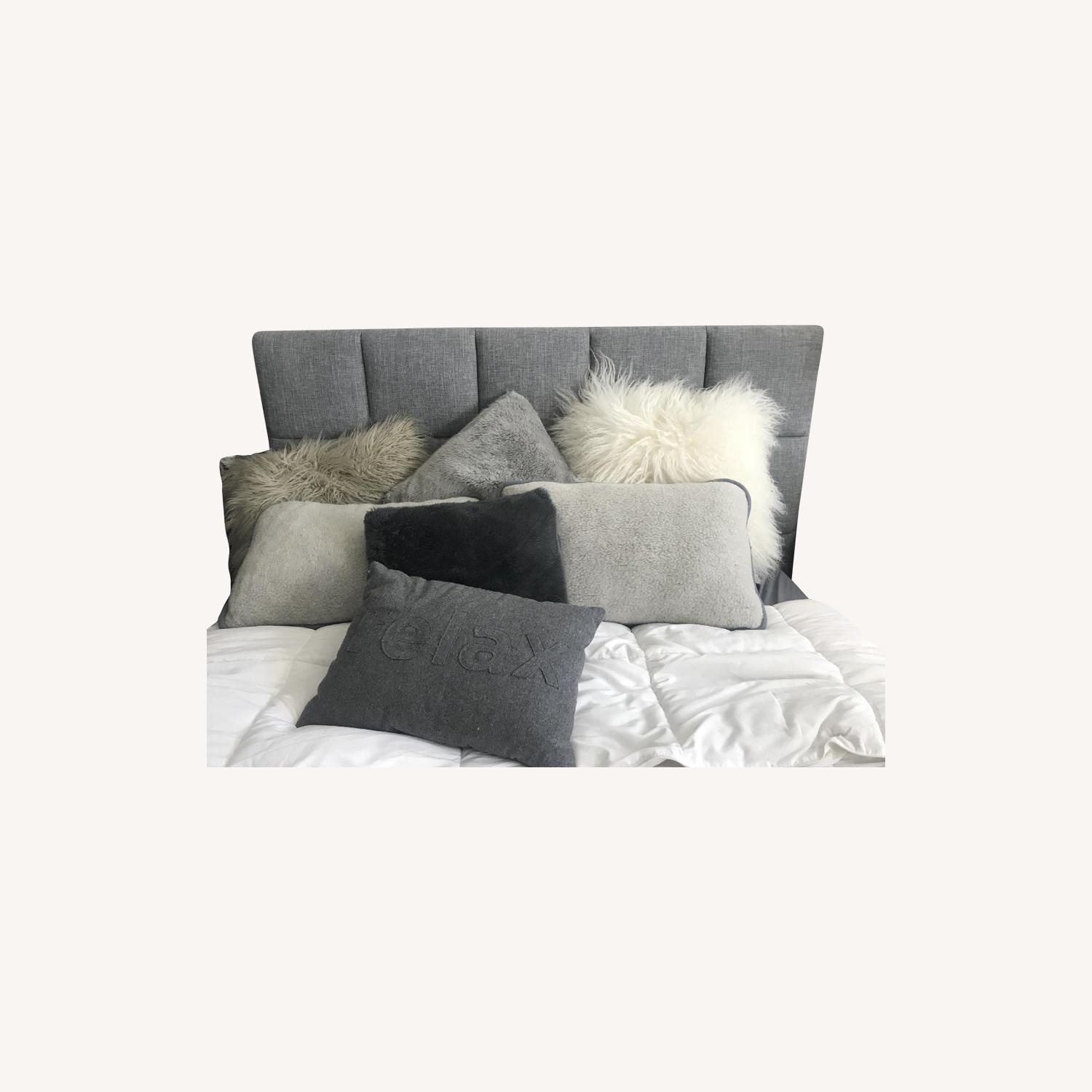 Grey Upholstered Full Size Bed w/ Headboard - image-0