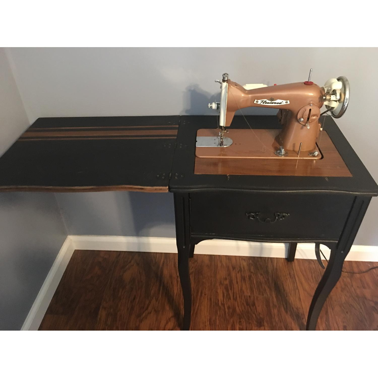 Vintage Sewing Machine Cabinet End Table - image-1