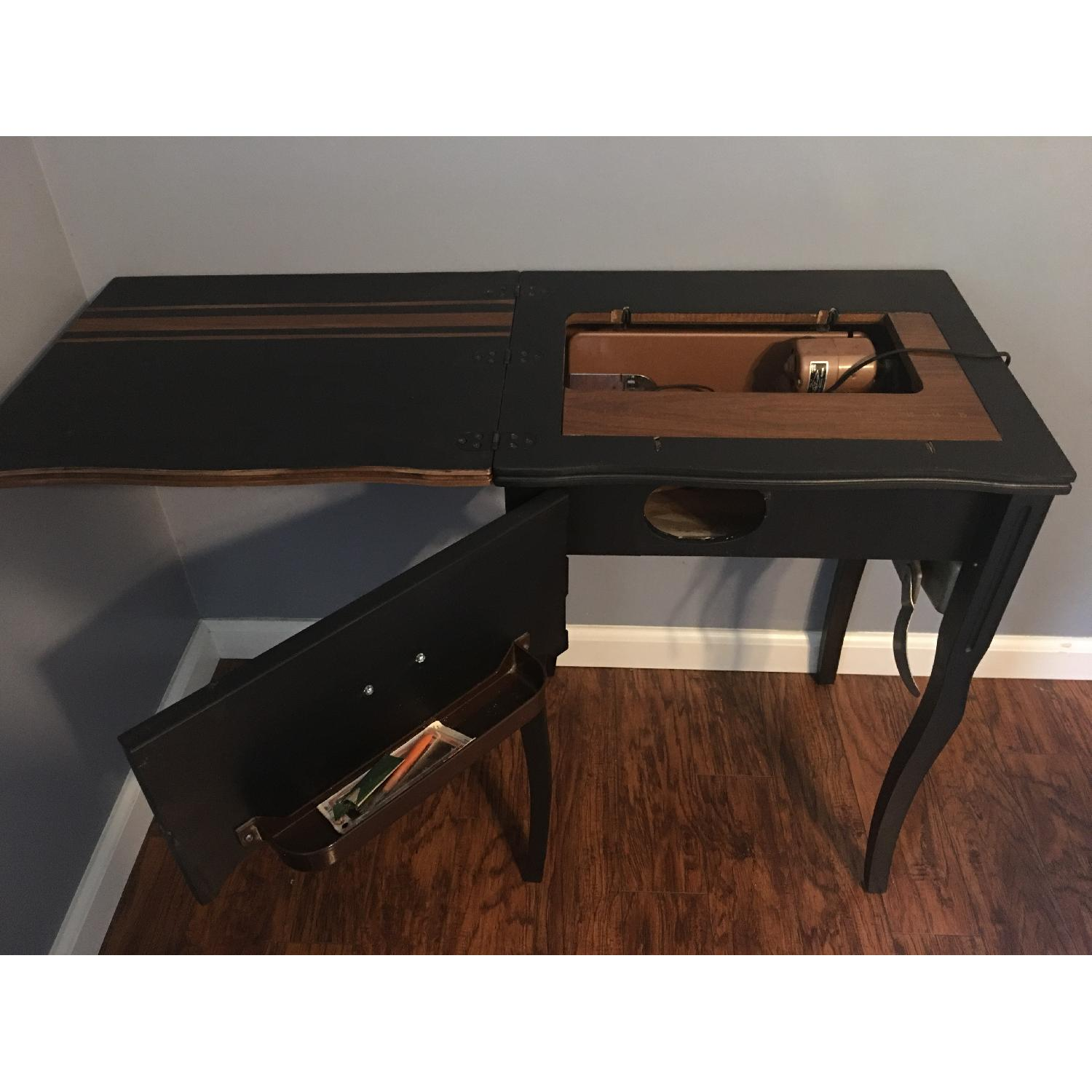 Vintage Sewing Machine Cabinet End Table - image-4