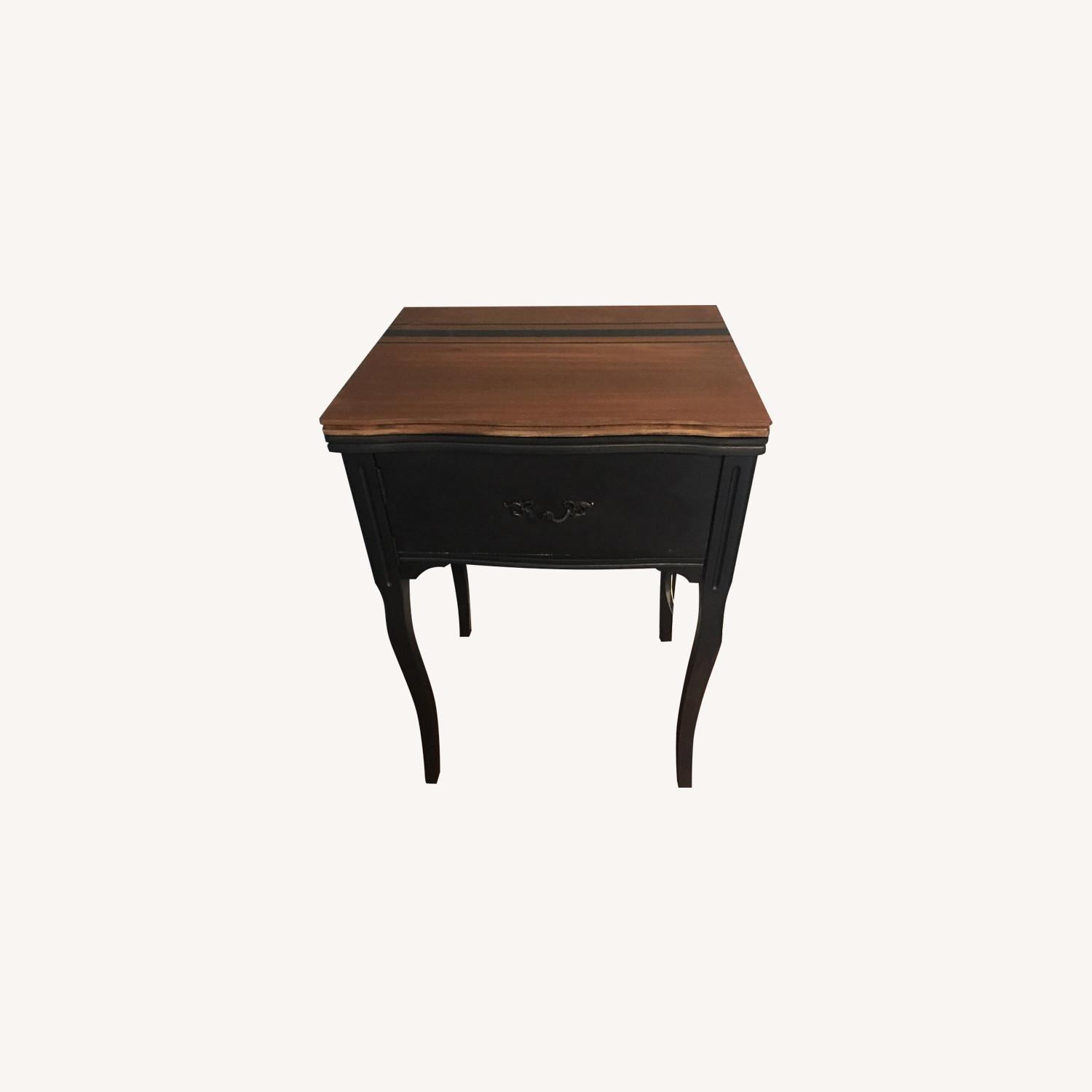 Vintage Sewing Machine Cabinet End Table - image-0