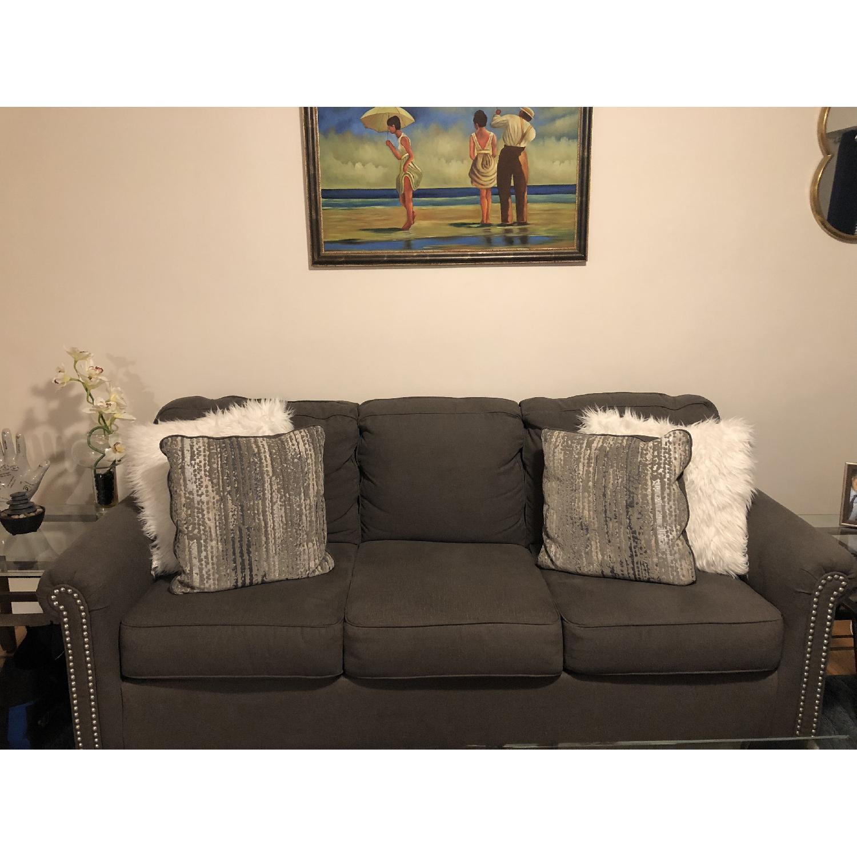 Raymour & Flanigan Grey Studded Sofa - image-1