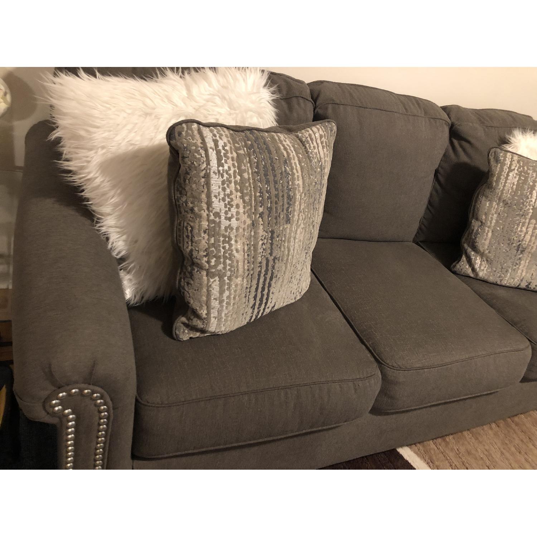 Raymour & Flanigan Grey Studded Sofa - image-2