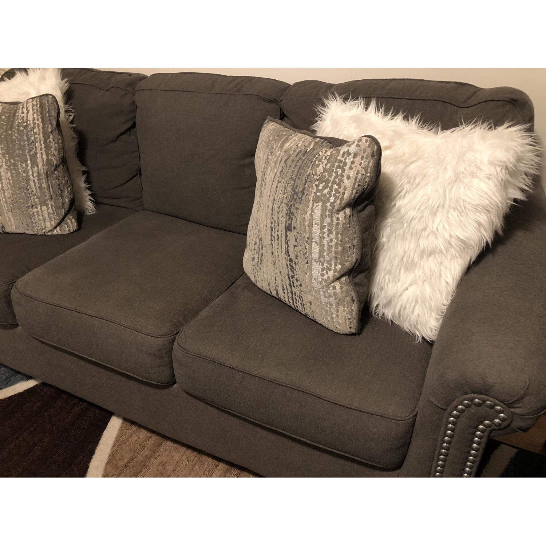 Raymour & Flanigan Grey Studded Sofa - image-3