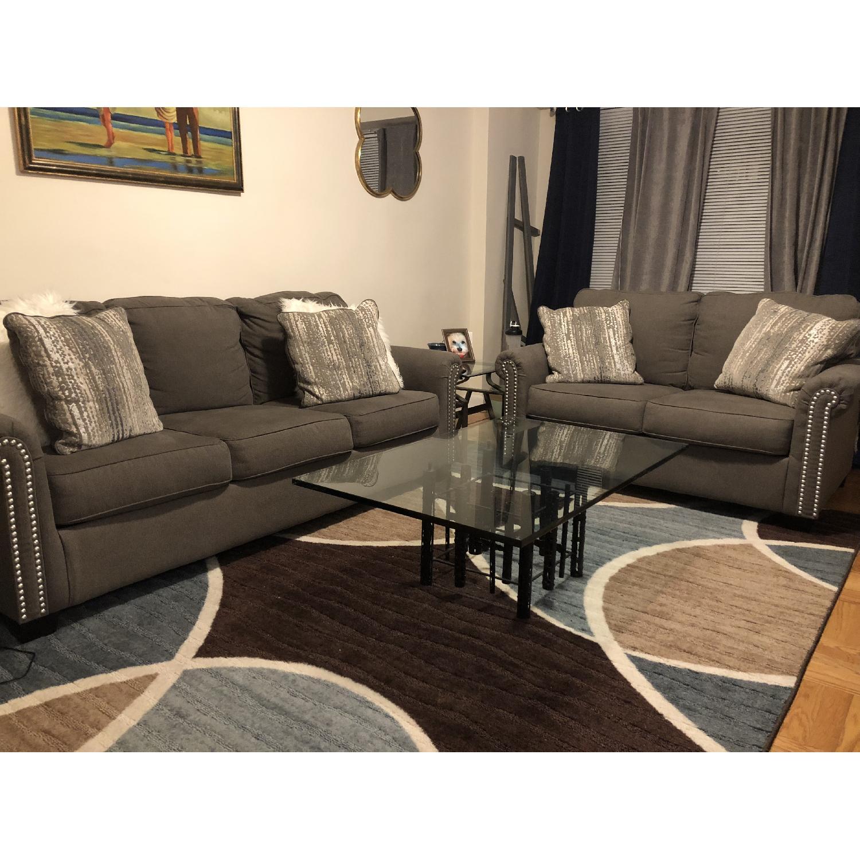 Raymour & Flanigan Grey Studded Sofa - image-0