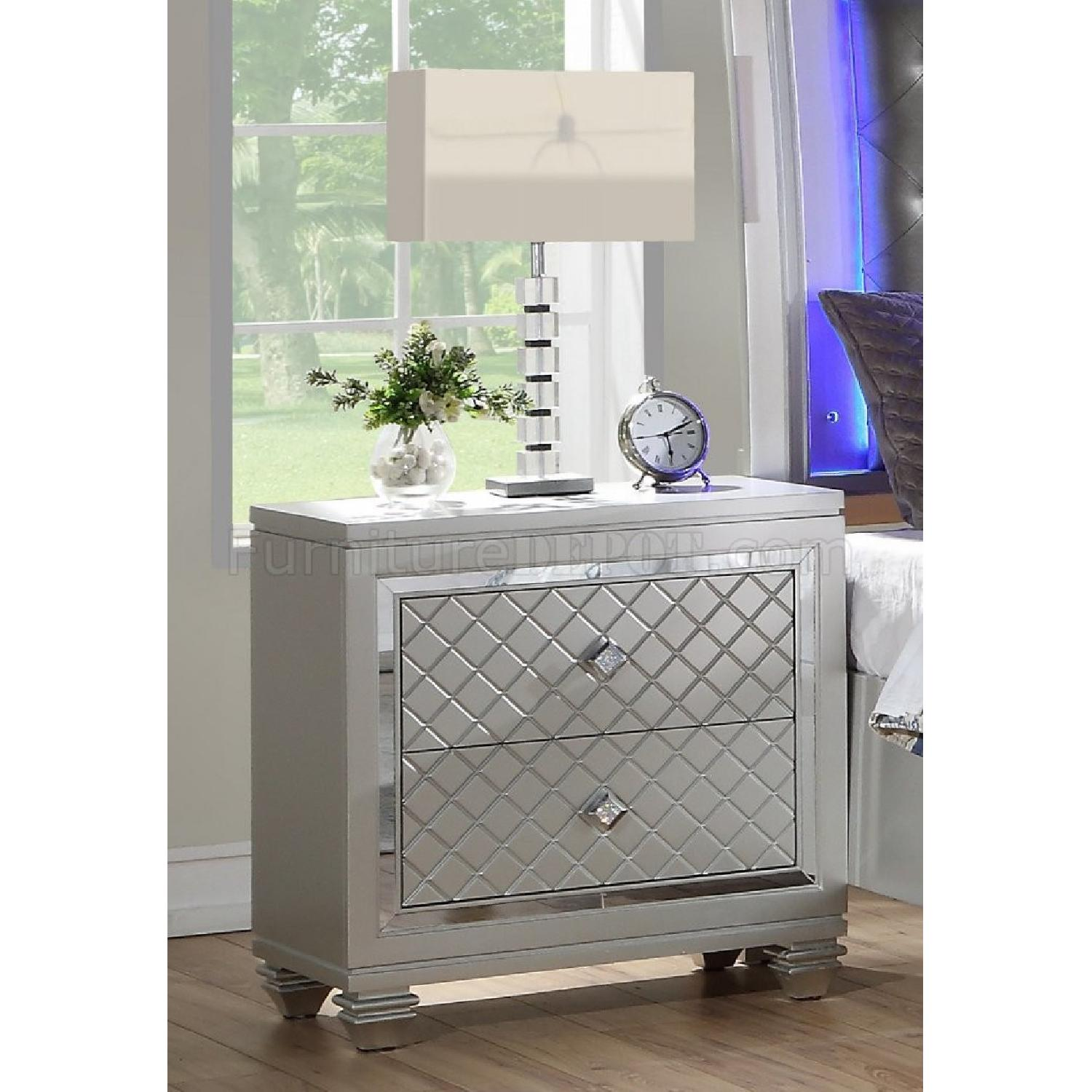 Silver 2-Drawer Nightstand - image-0