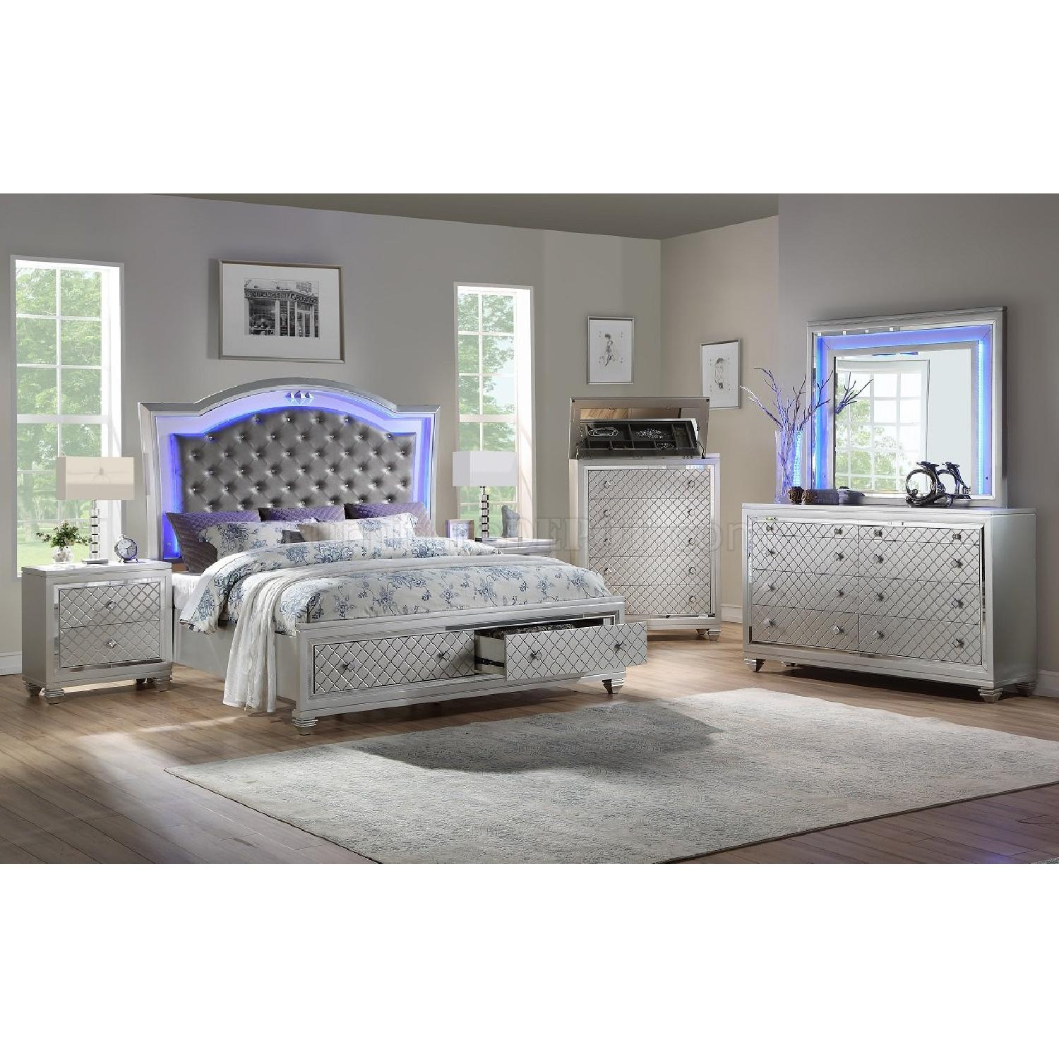 Silver Queen Size Bed w/ Storage & Lights - image-1