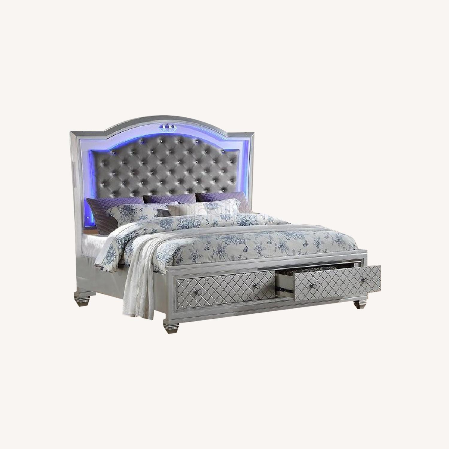 Silver Queen Size Bed w/ Storage & Lights - image-0