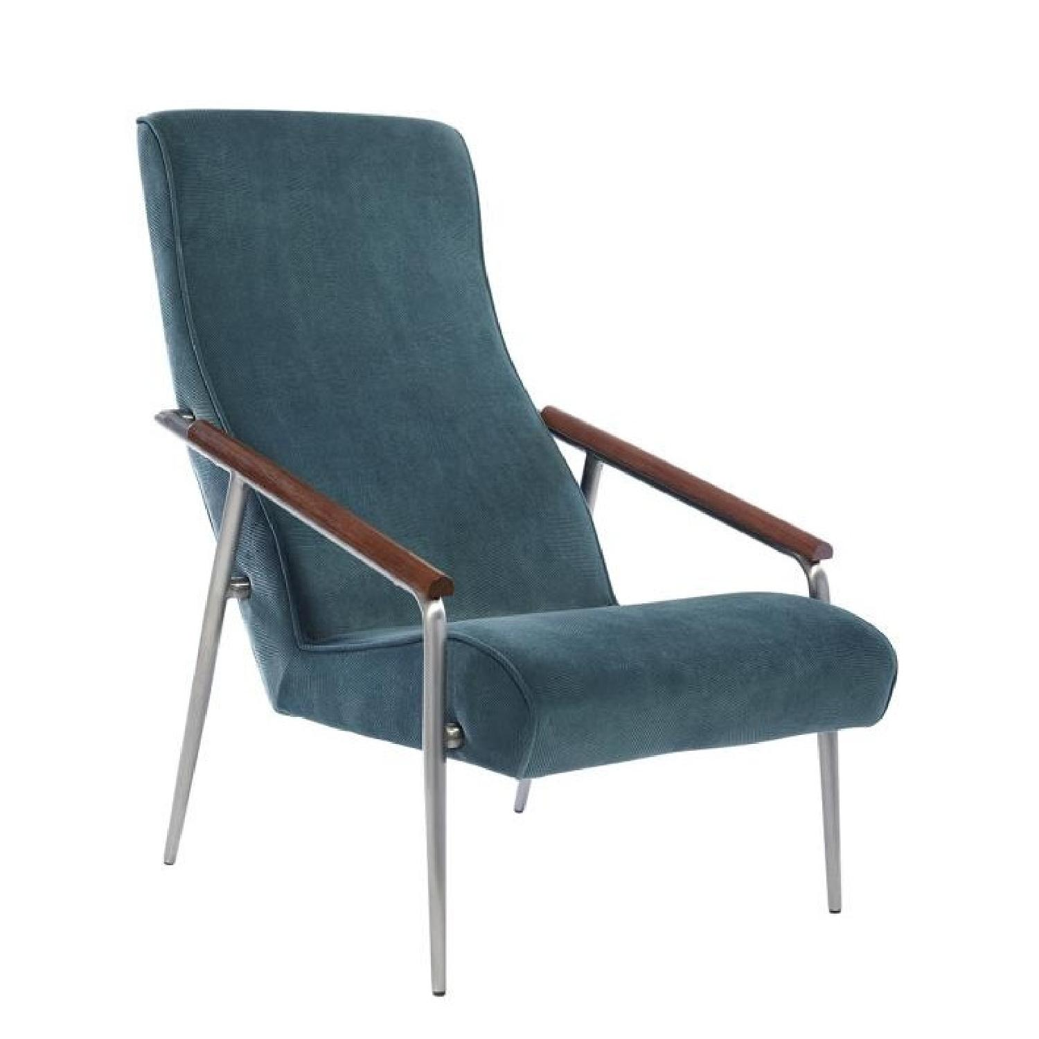 Chic Accent Chair in Teal Velvet Fabric - image-0