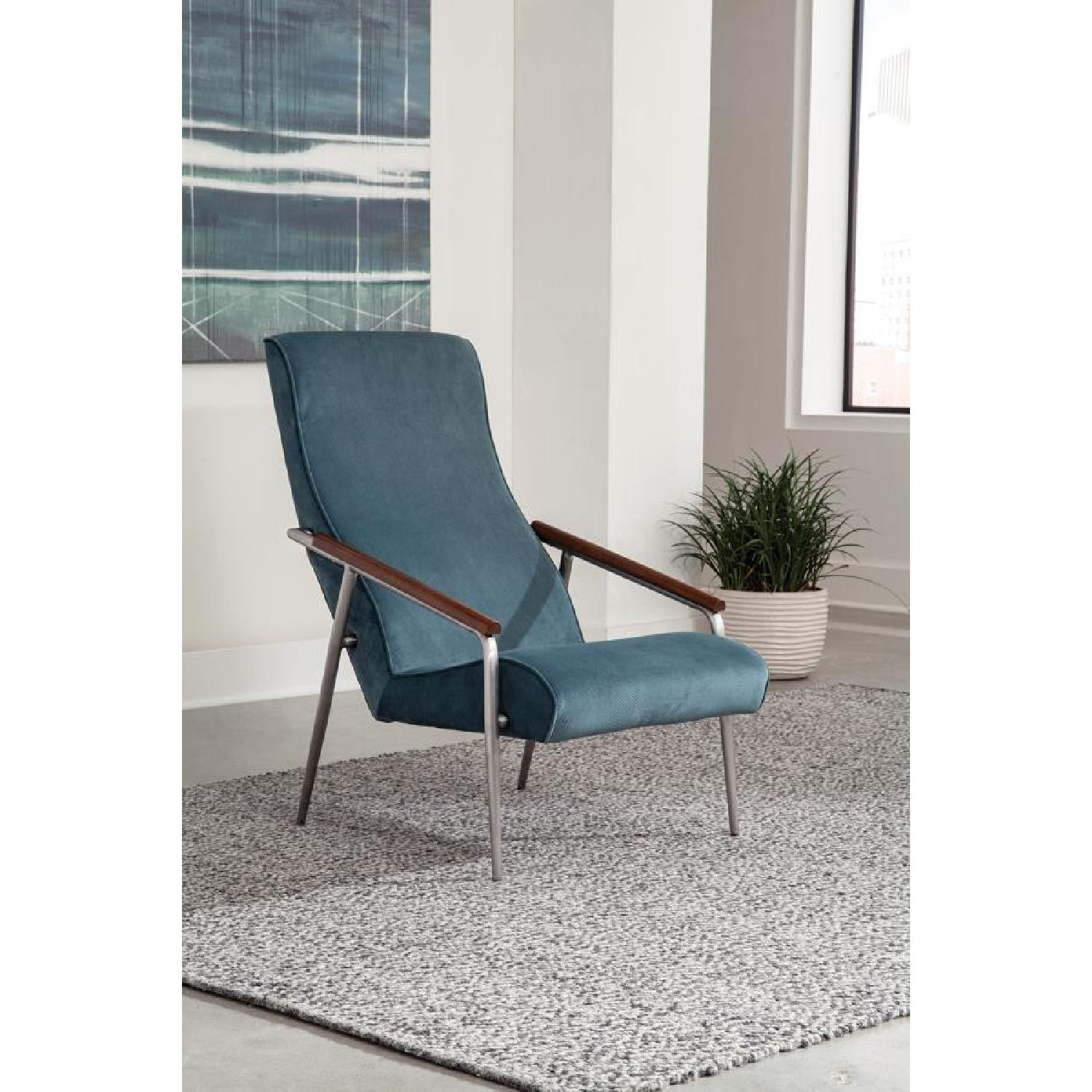 Chic Accent Chair in Teal Velvet Fabric - image-2