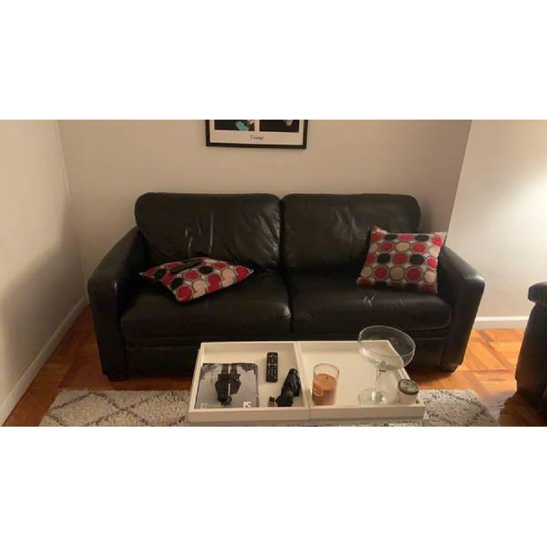 Raymour & Flanigan Black Leather Queen Sleeper Sofa - image-1