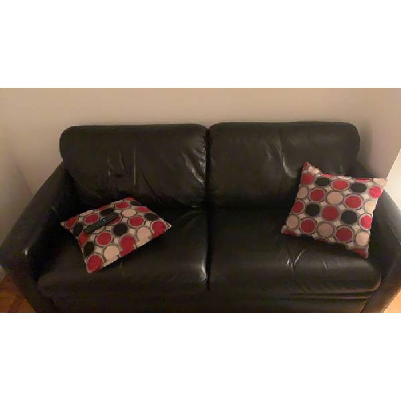 Raymour & Flanigan Black Leather Queen Sleeper Sofa - image-2