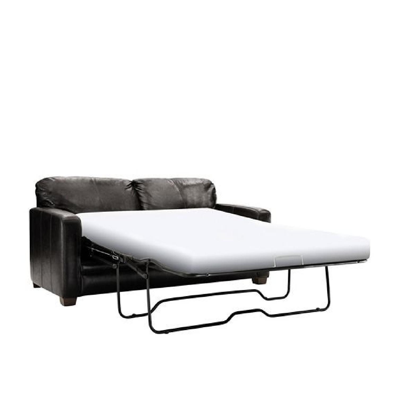 Raymour & Flanigan Black Leather Queen Sleeper Sofa - image-3