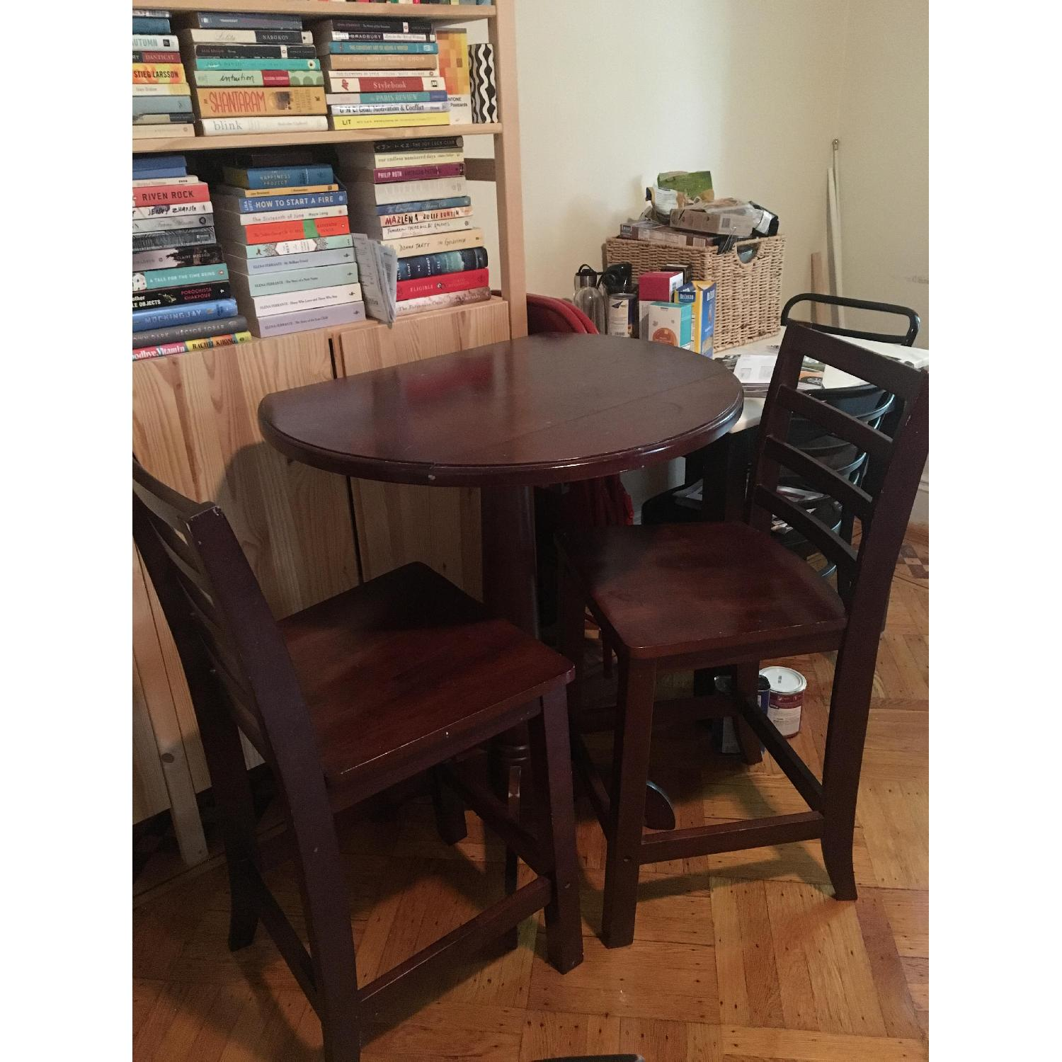 Wood Pub Table w/ 2 Chairs - image-2