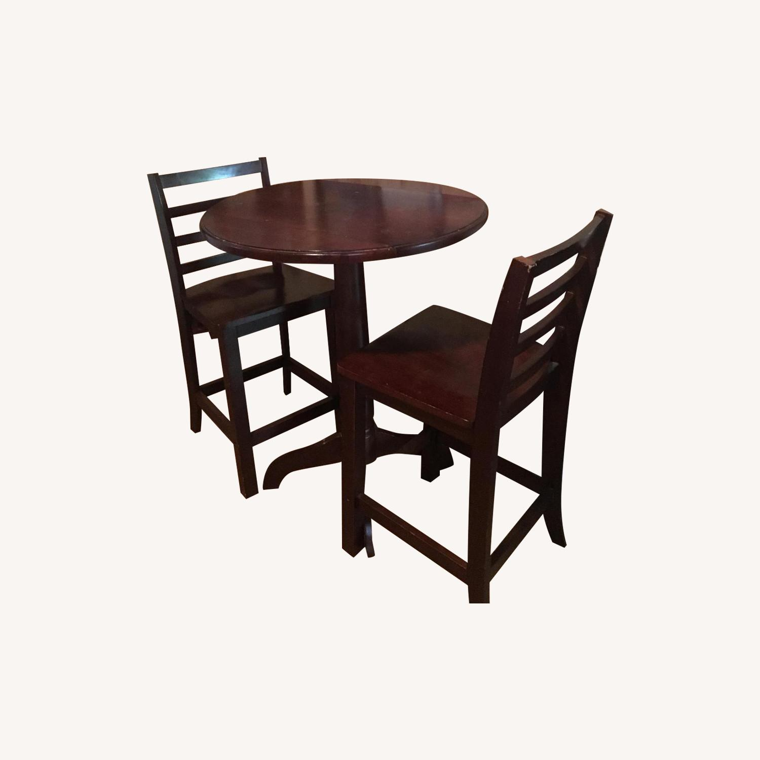 Wood Pub Table w/ 2 Chairs - image-0