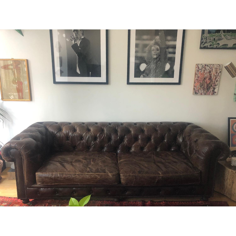 Restoration Hardware Kensington Leather Sofa - image-1