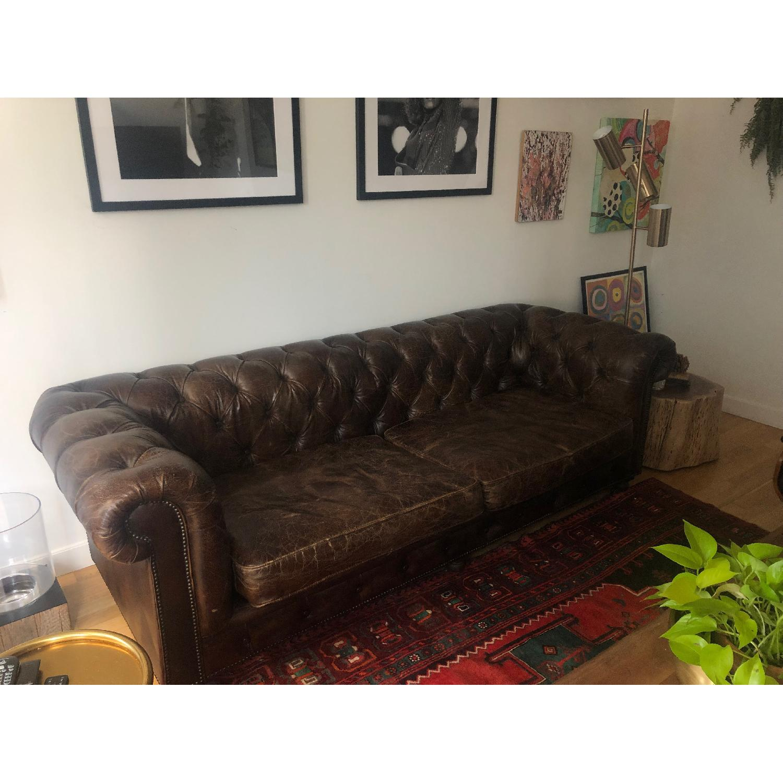 Restoration Hardware Kensington Leather Sofa - image-2
