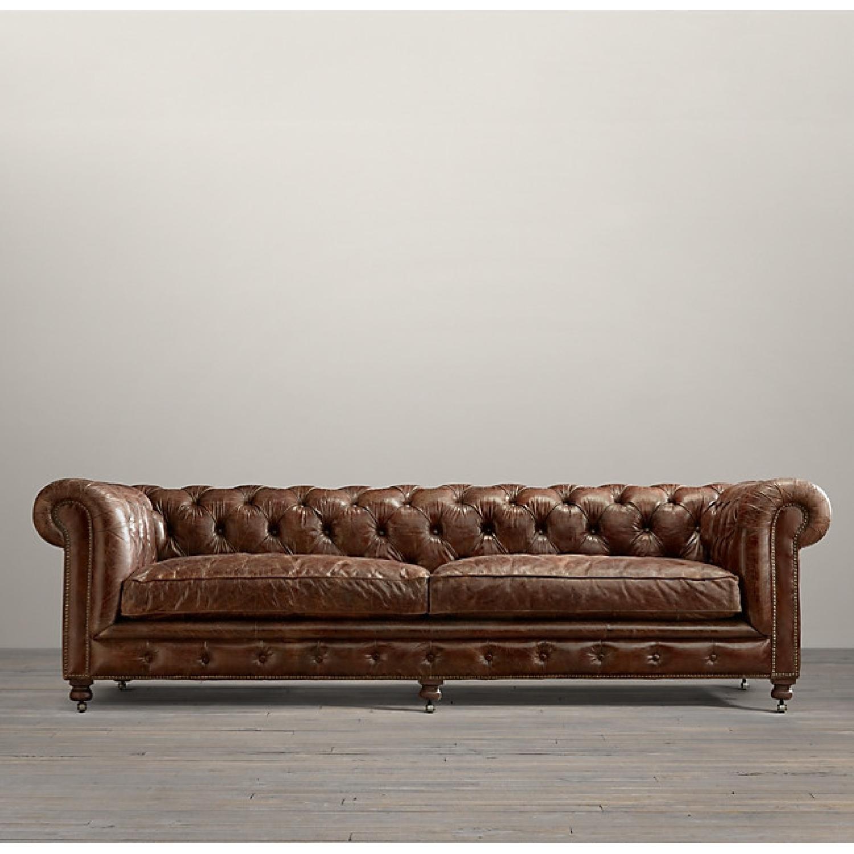 Restoration Hardware Kensington Leather Sofa - image-3