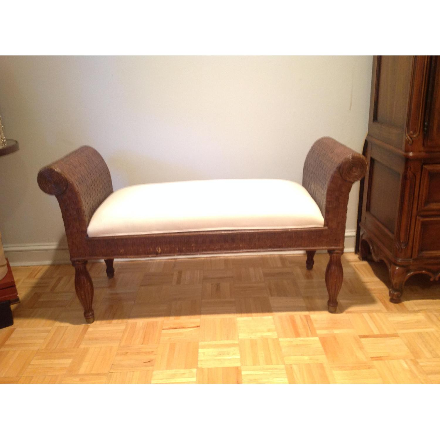 Ethan Allen Wicker Bench - image-2