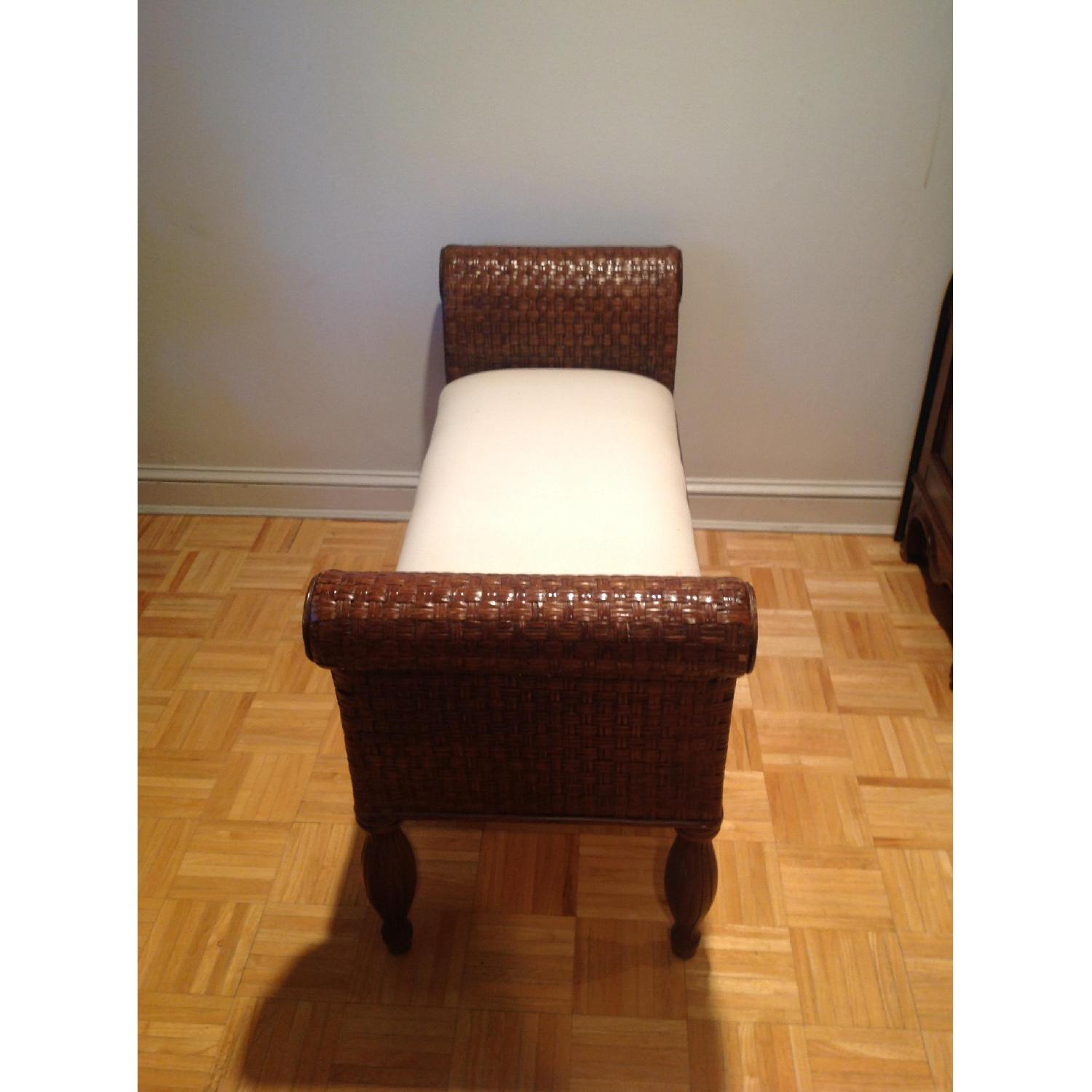 Ethan Allen Wicker Bench - image-1