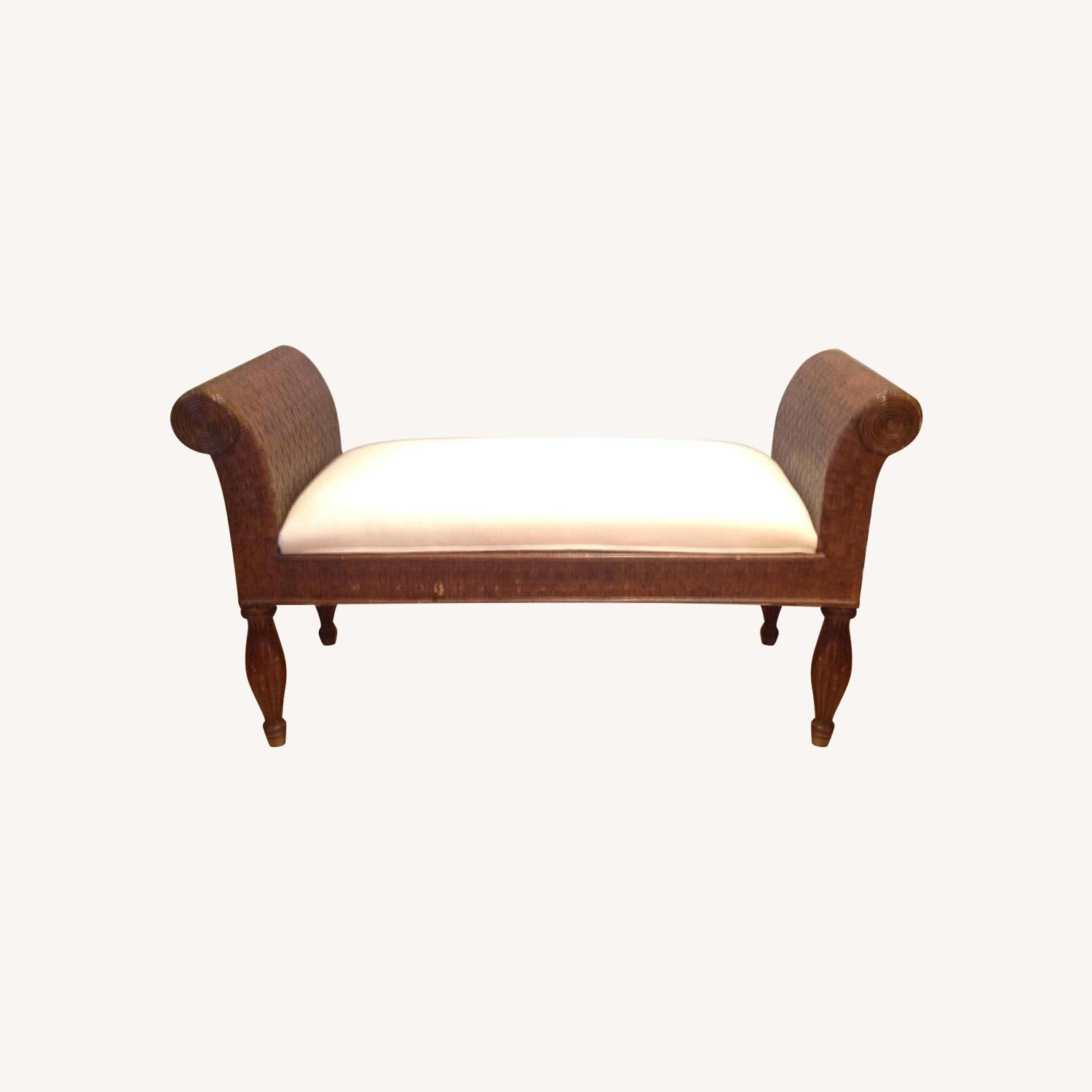 Ethan Allen Wicker Bench - image-0