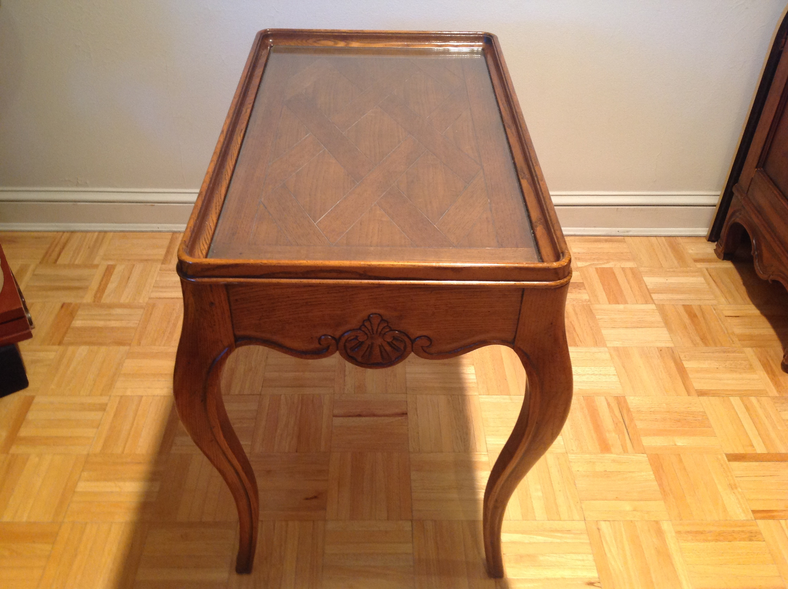 Baker Furniture Wood Side Table w/ Mirror Insert
