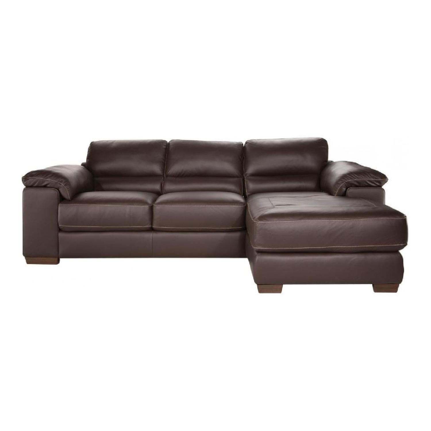 Raymour & Flanigan Leather Recliner Sectional Sofa + Chair - image-0