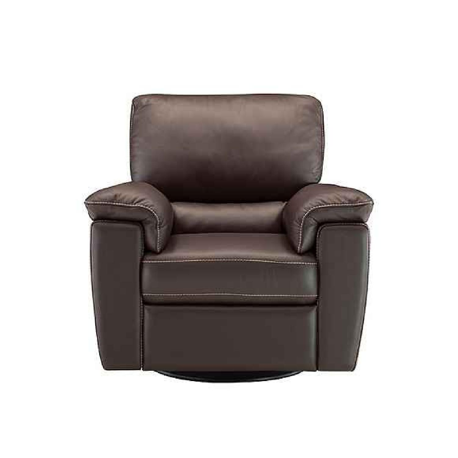 Raymour & Flanigan Leather Recliner Sectional Sofa + Chair - image-4