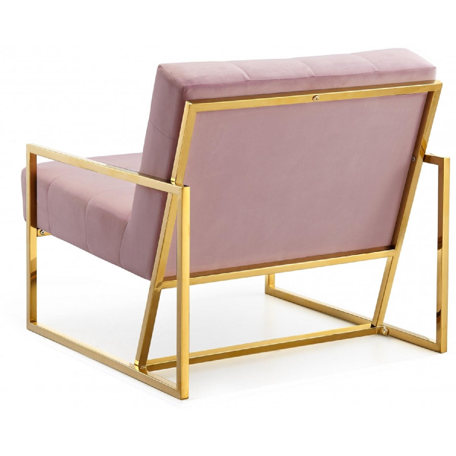 Meridian Furniture Pink & Gold Pierre Velvet Accent Chair - image-5