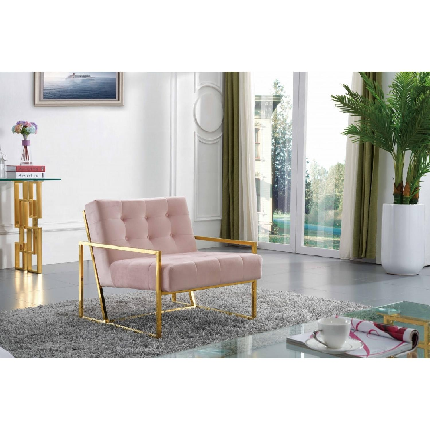 Meridian Furniture Pink & Gold Pierre Velvet Accent Chair - image-7