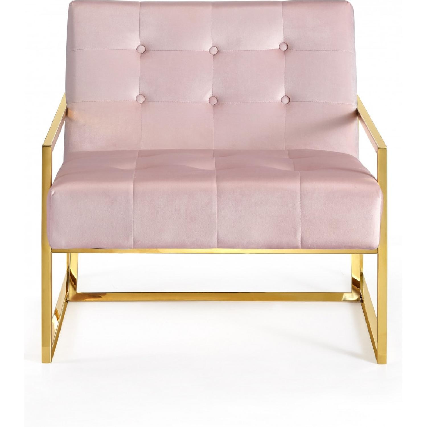 Meridian Furniture Pink & Gold Pierre Velvet Accent Chair - image-0