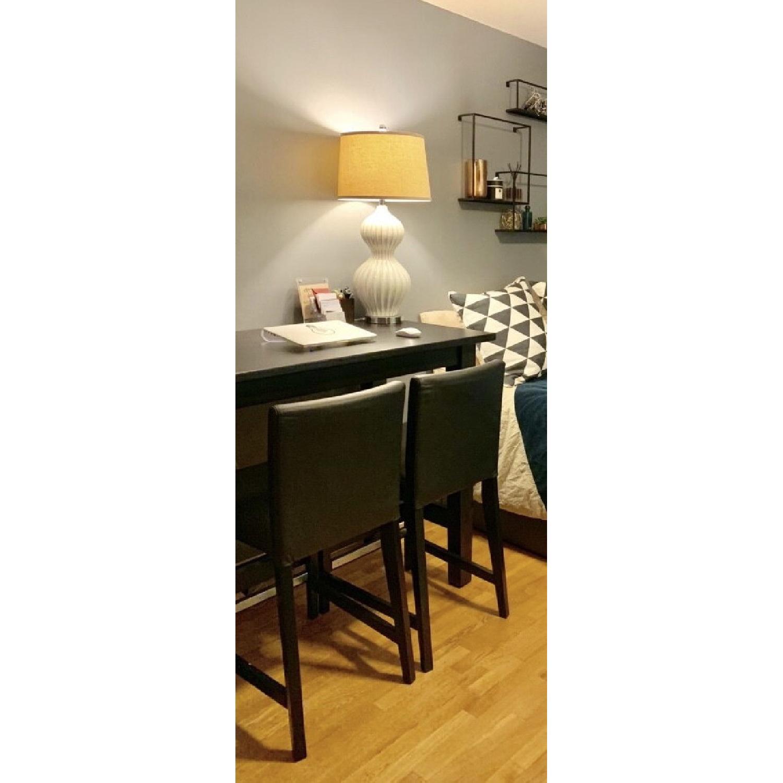Ikea Pine High Table w/ 2 Leather Bar Stools - image-1