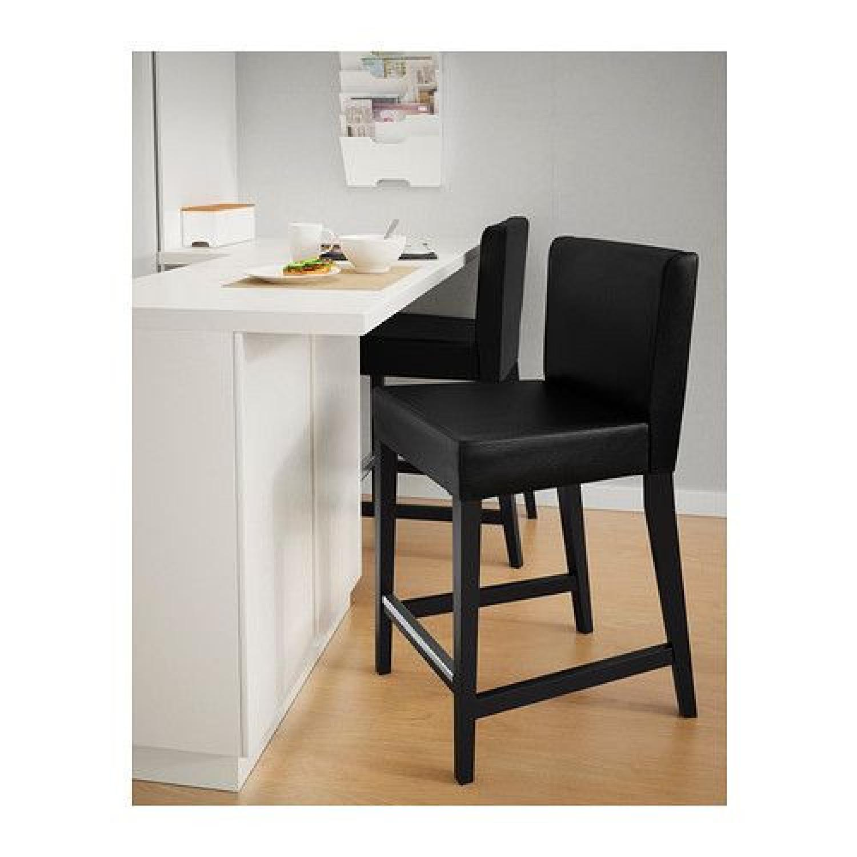 Ikea Pine High Table w/ 2 Leather Bar Stools - image-3