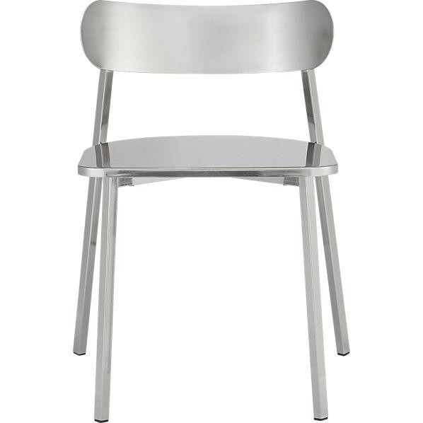 CB2 Fleet Dining Chairs in Brushed Nickel