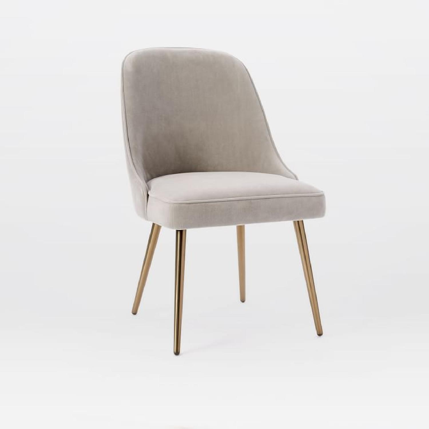 West Elm Mid-Century Upholstered Dining Chair in Dove Grey - image-0