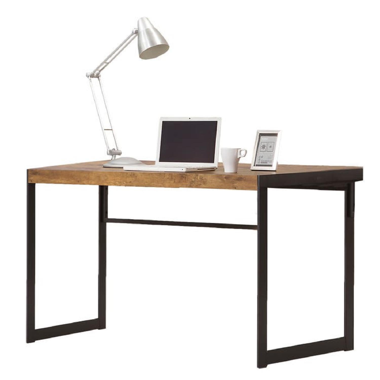 Antique Nutmeg Desk With Gunmetal Legs - image-2