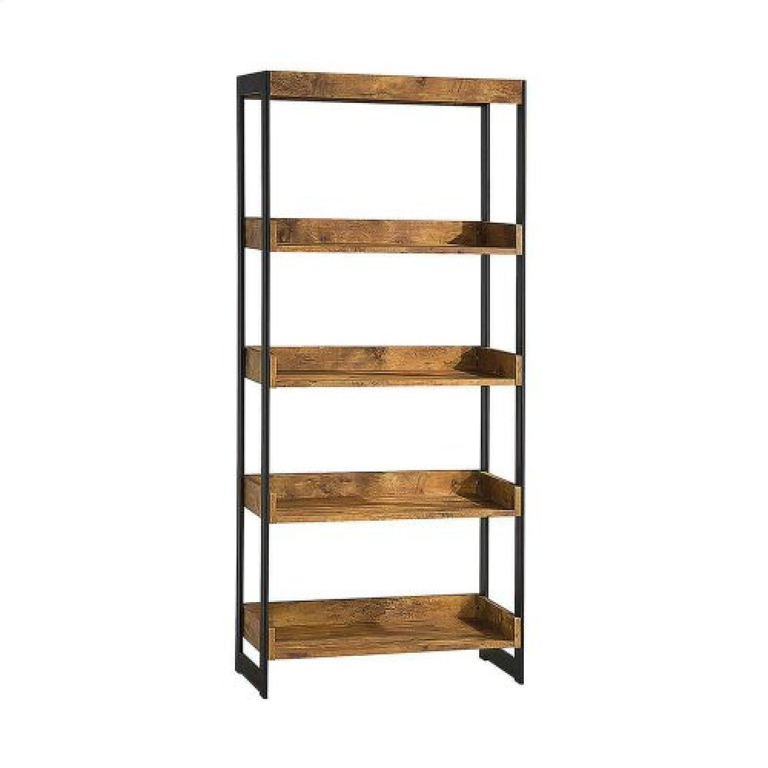 Nutmeg Bookcase With Gunmetal Frame - image-1