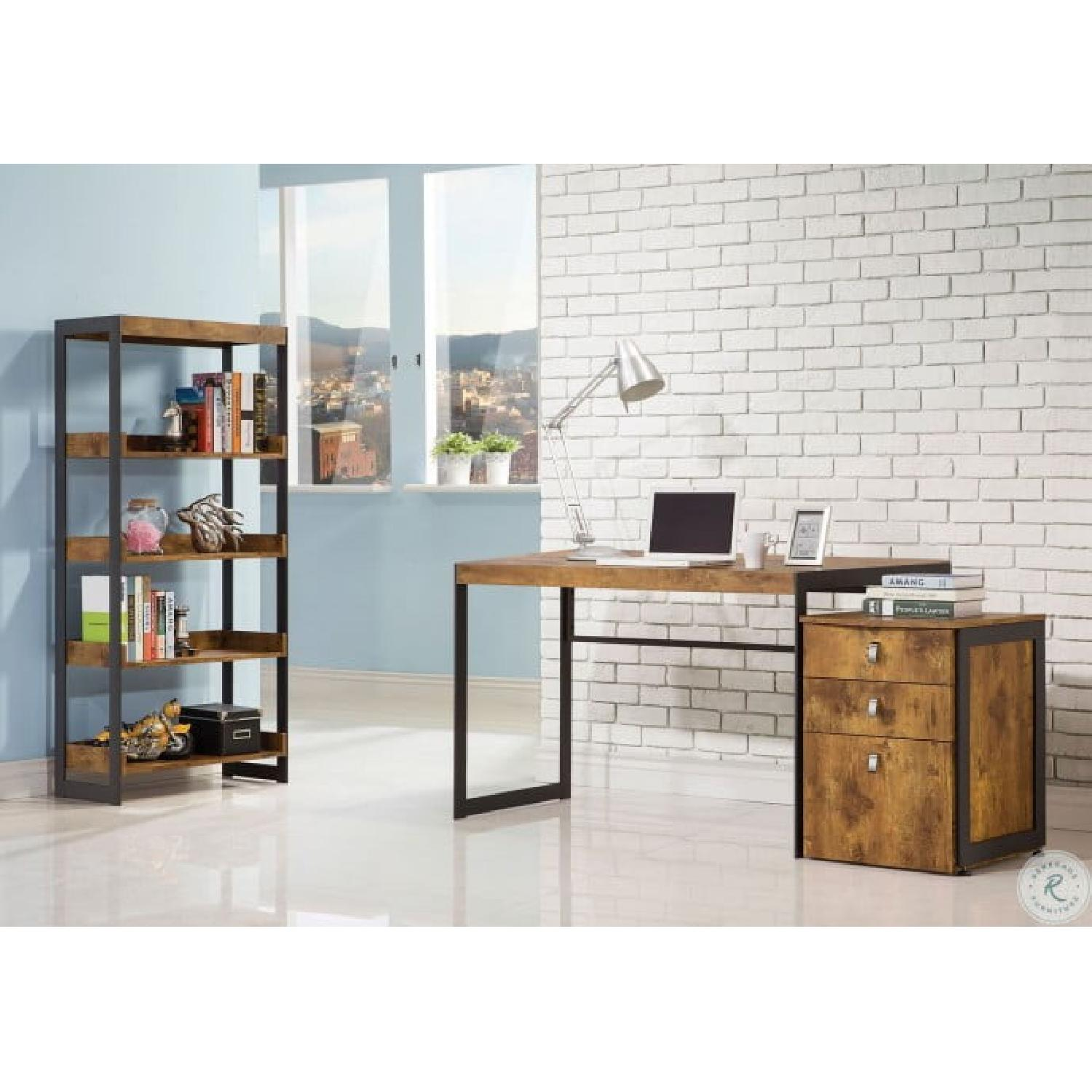 Nutmeg Bookcase With Gunmetal Frame - image-2